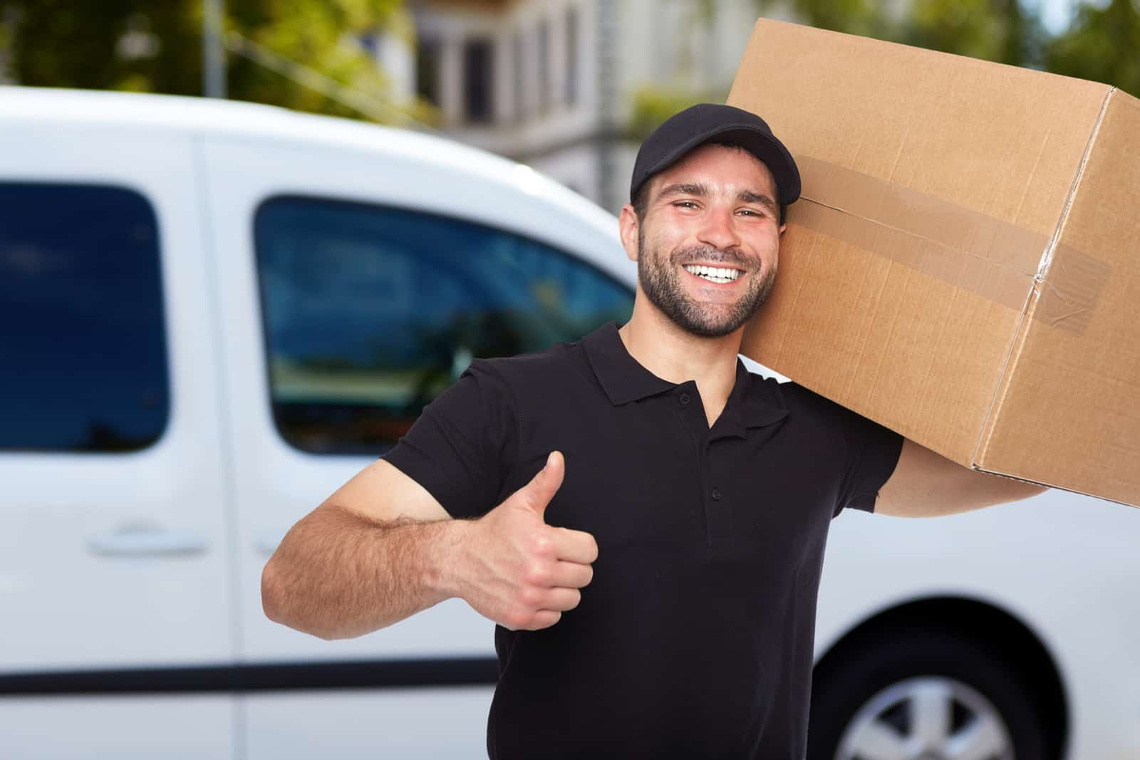 man with his van